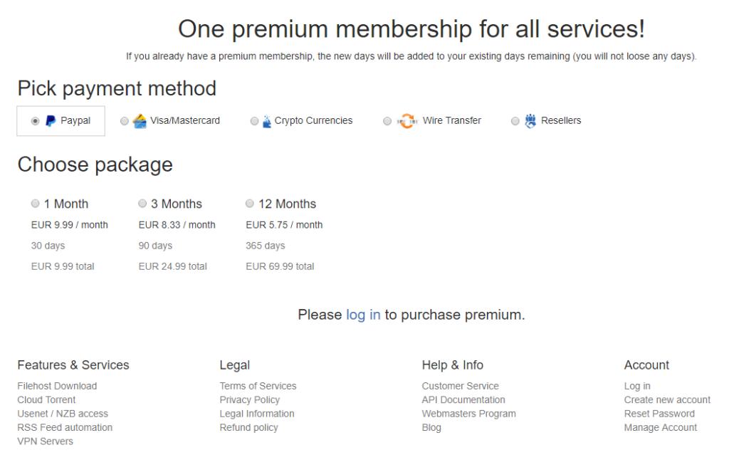 Premiumize Pricelist