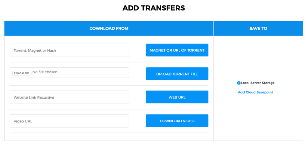 Transfercloud Add Transfers